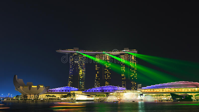 Exposition légère Marina Bay Singapore photographie stock