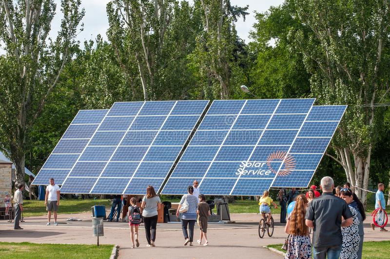 Exposition in the open air. Renewable energy sources. A solar panel. The central square of the city. Ukraine, Nikolaev, 24.06.2017: Exposition in the open air stock photos