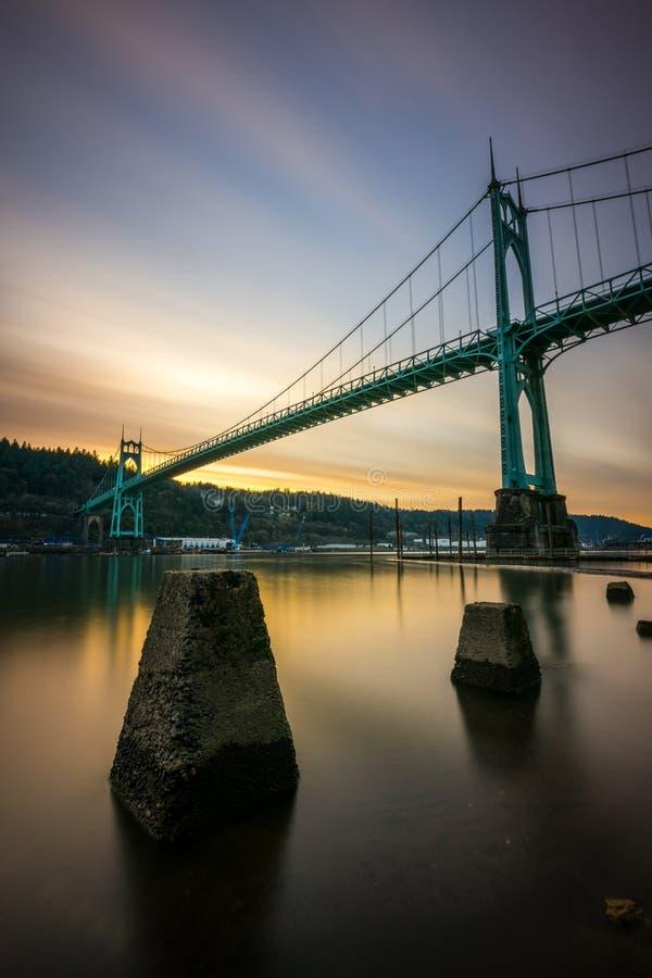 Exposition Portland Orégon de pont de St Johns longue photographie stock libre de droits