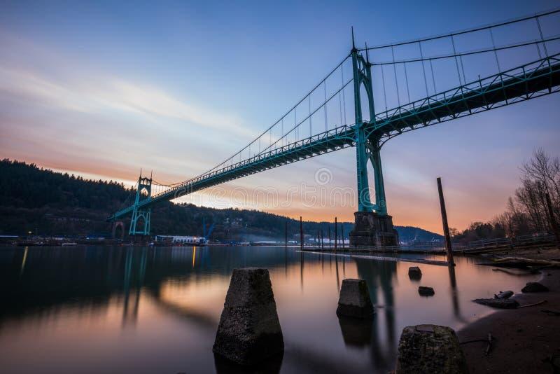 Exposition Portland Orégon de pont de St Johns longue images stock