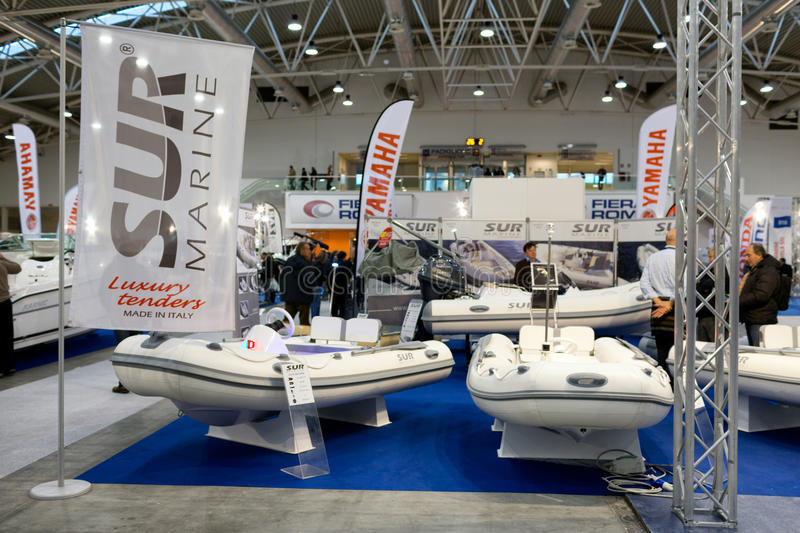 Exposition Roma de Sur Marine Inflatable Boats At Boat image stock