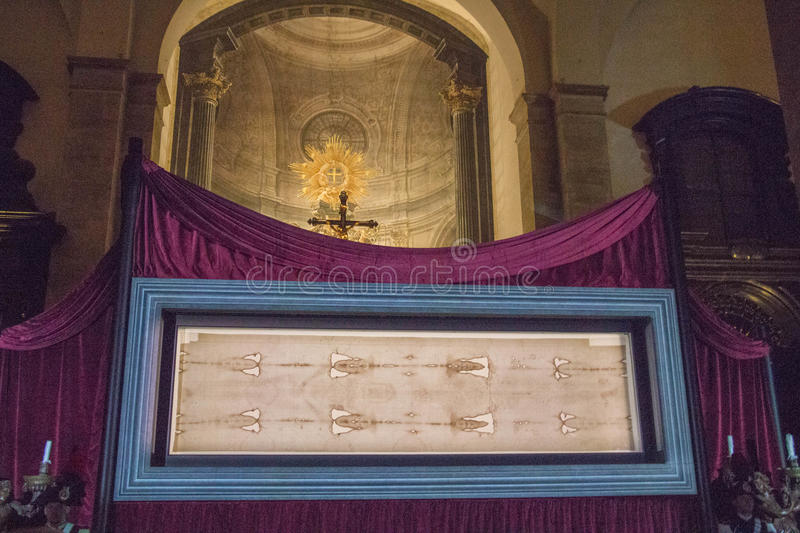 The Exposition of the Shroud of Turin in the Turin Cathedral. Piedmont. Italy. royalty free stock image