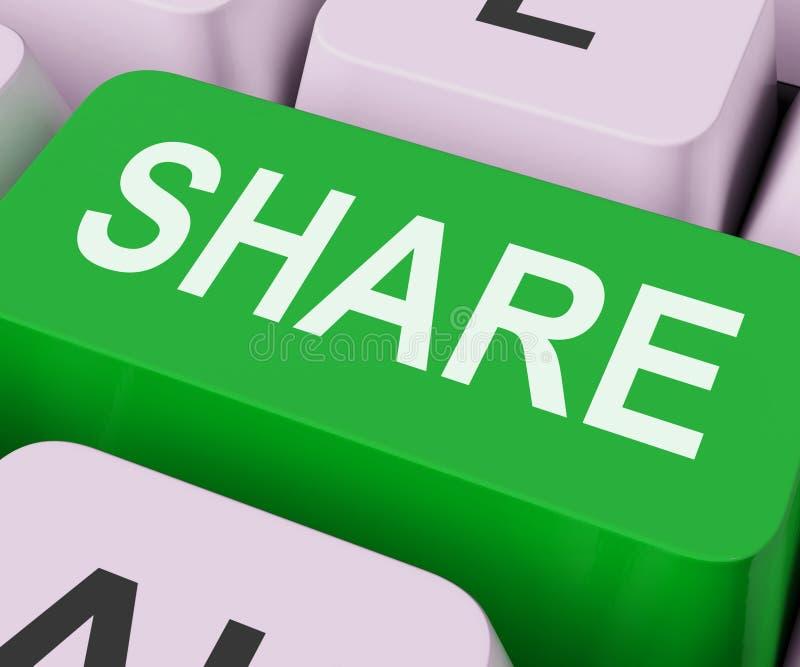 Expositions de clé de part partageant la page Web ou la photo en ligne images stock