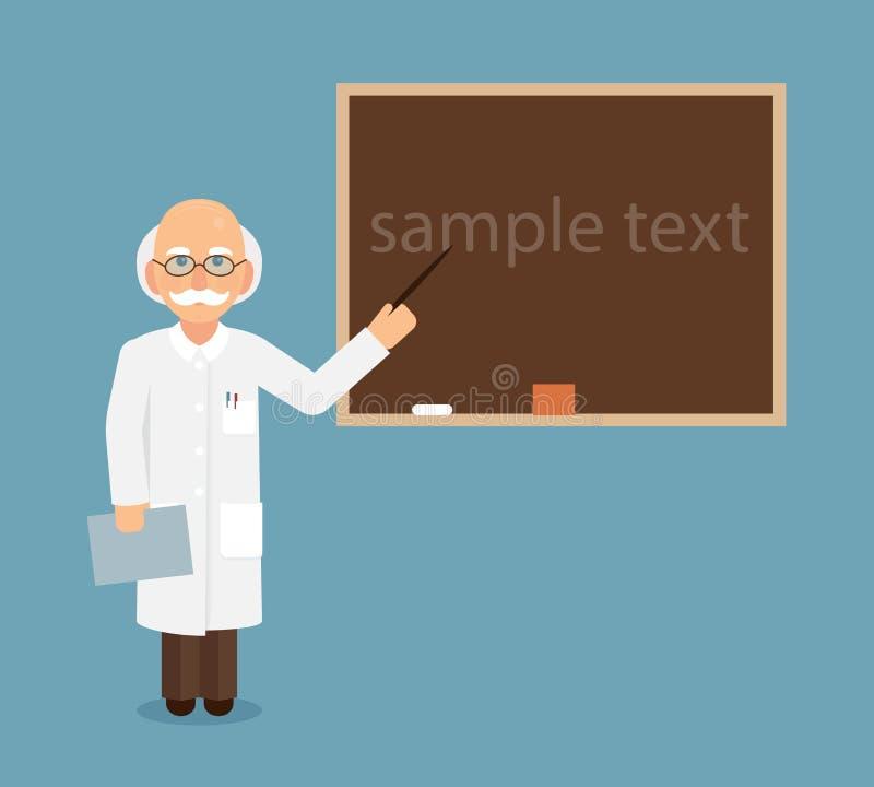 Expositions de professeur, de scientifique ou de docteur par un indicateur à un texte de tableau photo stock