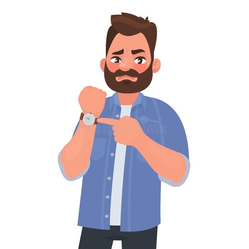 Expositions mécontentes d'homme sur l'horloge D?p?chez-vous vers le haut date-limite Patron impatient Illustration de vecteur illustration libre de droits