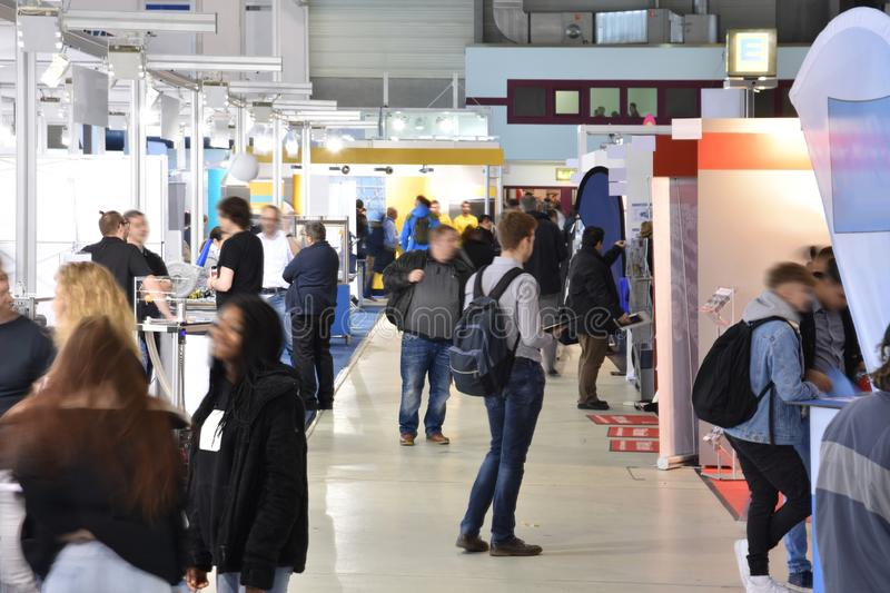 Trade fair with different booths royalty free stock image