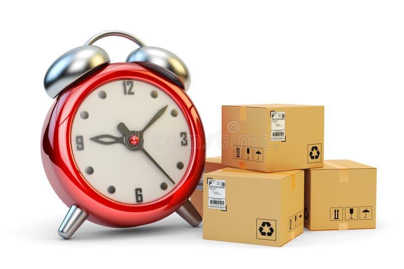 Exprese, apenas a tiempo y concepto de la entrega de los paquetes de la velocidad stock de ilustración