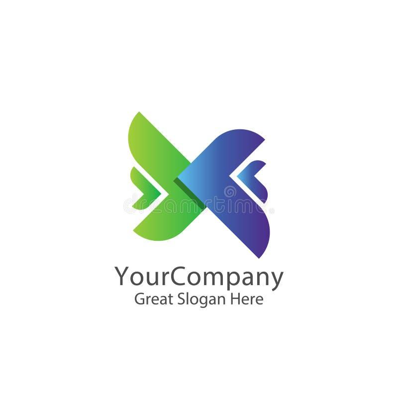 exprese el logotipo logístico del servicio de transporte de la entrega o del mensajero letra inicial x del lettertype providencia stock de ilustración