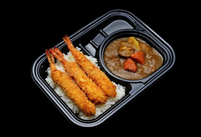 Exprese la caja japonesa del arroz de curry del tempura para el servicio de entrega Cocina japonesa de la tradición imagen de archivo