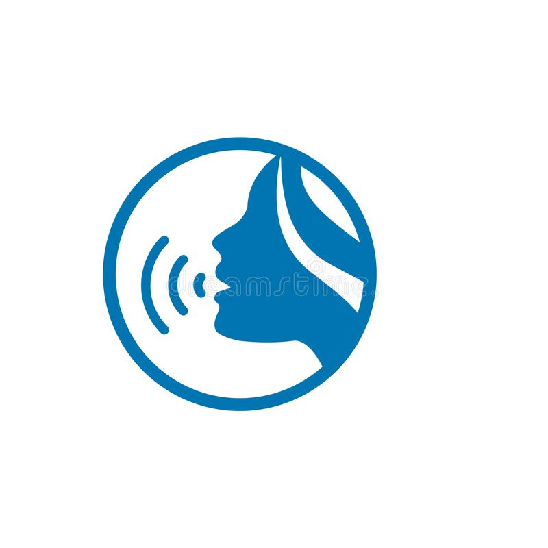 Exprese la emisión del sonido vía acordes de la voz con el icono del cordón vocal de la cara y del micrófono w ilustración del vector
