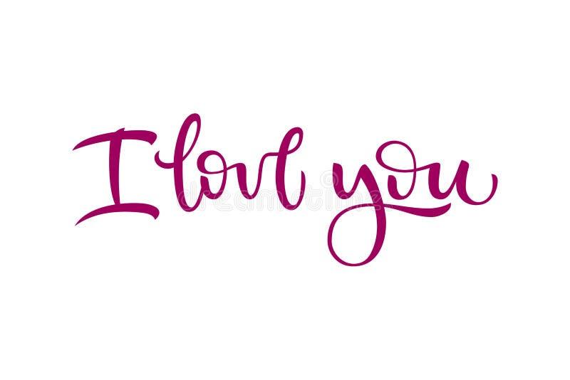 Exprese te amo en un fondo aislado blanco para las tarjetas de felicitación, declaraciones del amor, invitaciones y banderas Illu stock de ilustración