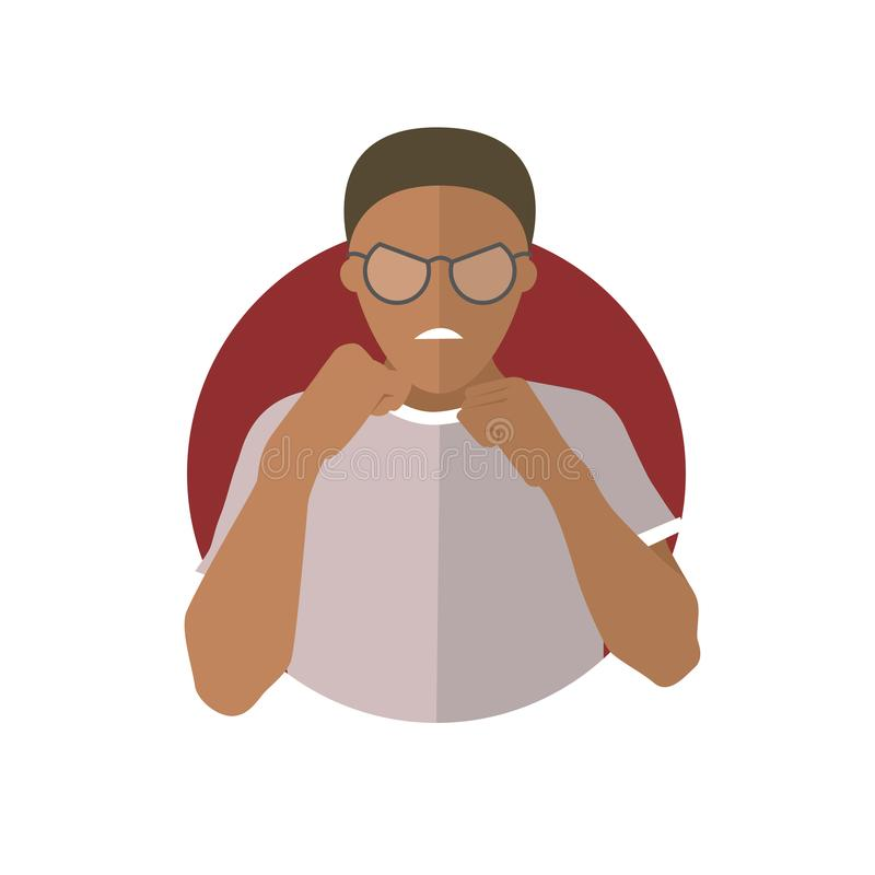 Expresión de la agresión, ataque del hombre negro, lucha Icono plano del vector stock de ilustración
