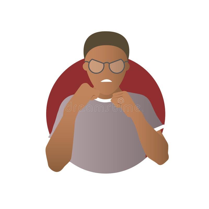 Expresión de la agresión, ataque del hombre negro, lucha Icono plano del vector de la pendiente libre illustration