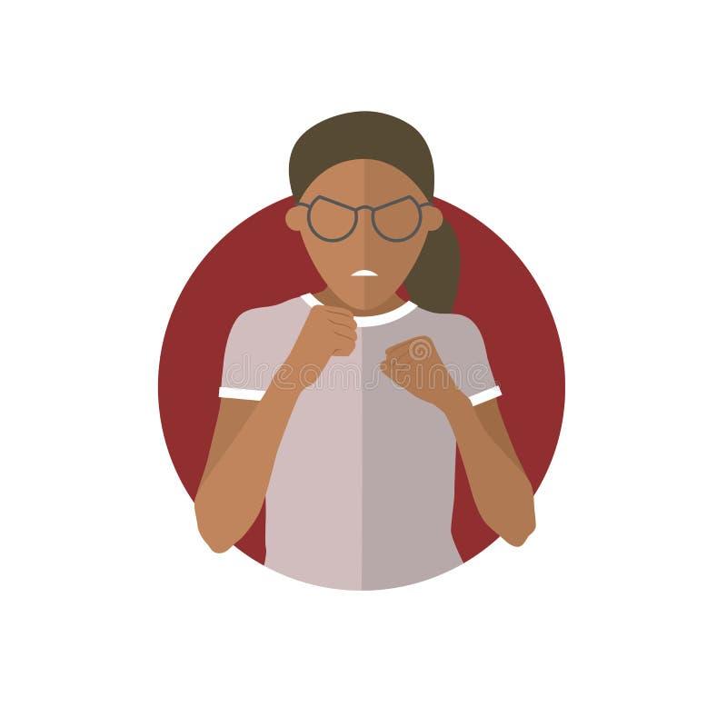 Expresión de la agresión, ataque negro de la muchacha, lucha Icono plano del vector stock de ilustración