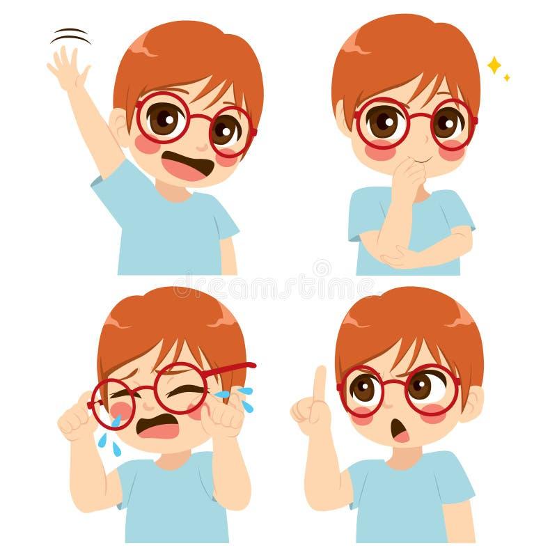 Expresión de la cara del muchacho de los vidrios ilustración del vector