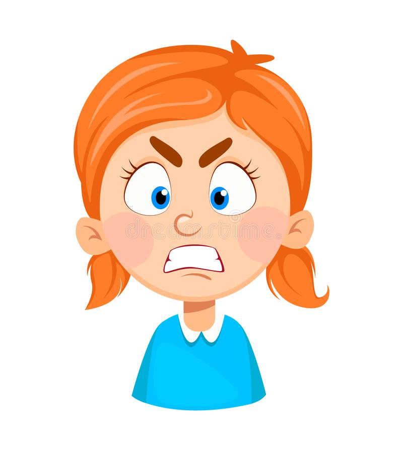 Expresión de la cara de la niña linda, enojada libre illustration