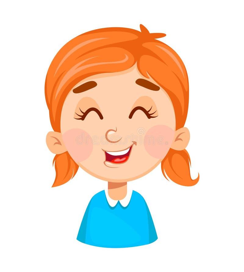 Expresión de la cara de la niña linda, riendo stock de ilustración