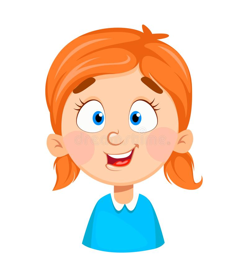 Expresión de la cara de la niña linda, sonriendo libre illustration