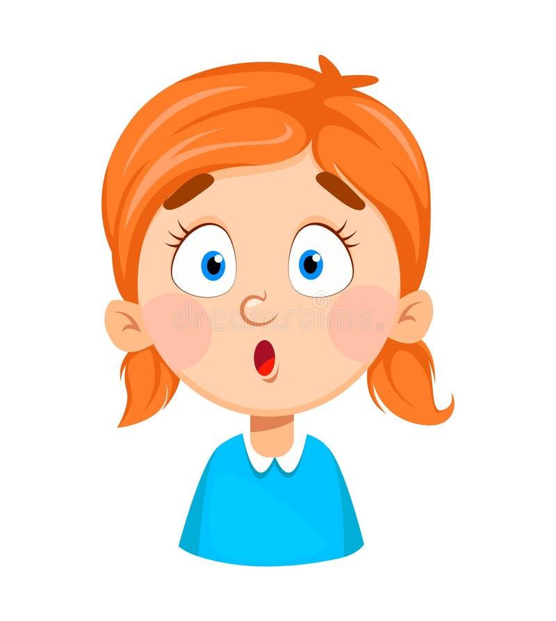 Expresión de la cara de la niña linda, sorprendida libre illustration