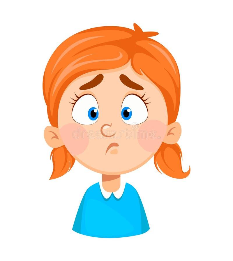 Expresión de la cara de la niña linda, triste stock de ilustración