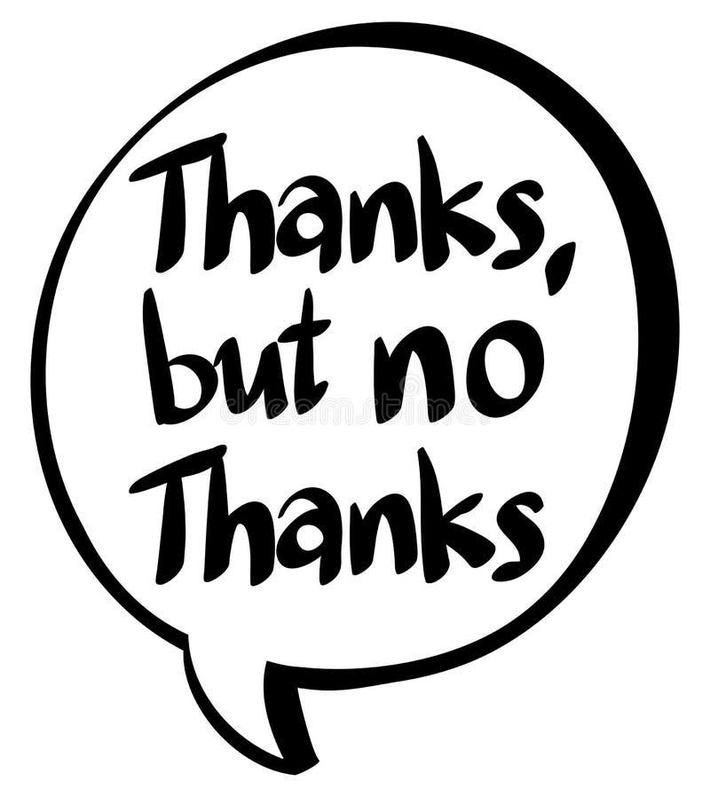Expresión de la palabra para las gracias pero ningunas gracias ilustración del vector