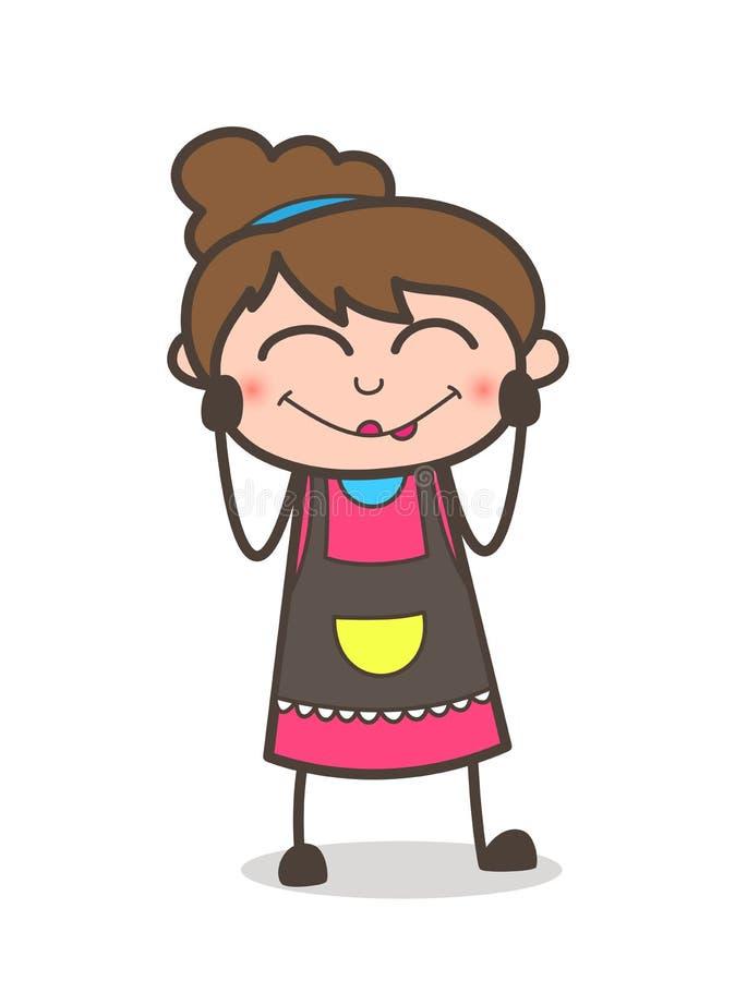 Expresión de ruborización de la cara - vector de Girl Artist Cartoon del cosmetólogo stock de ilustración