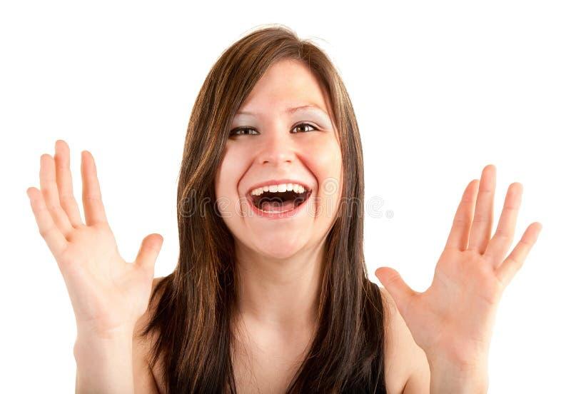 Expresión de una mujer que gana algo grande fotos de archivo libres de regalías