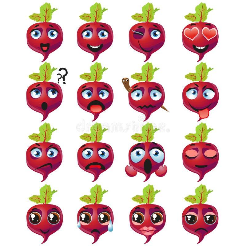 Expresión del Emoticon de Emoji de las remolachas Comida linda divertida libre illustration