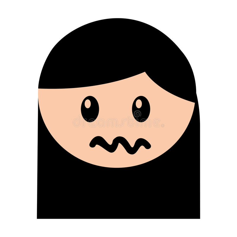 Expresión enojada de la muchacha principal stock de ilustración