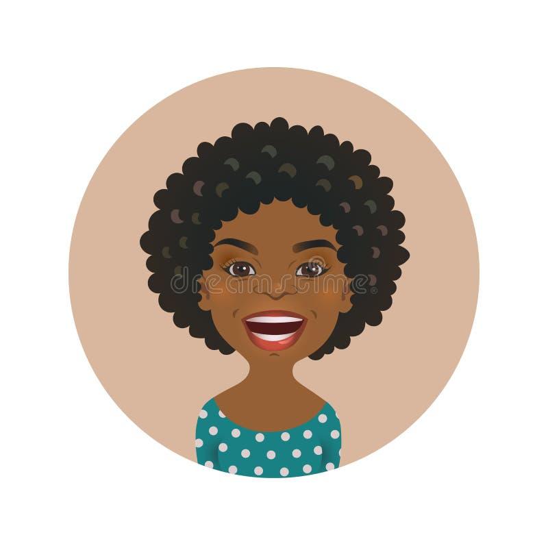 Expresión facial feliz de la mujer afroamericana linda Avatar africano sonriente de la muchacha Cara modelo sonriente de piel mor stock de ilustración