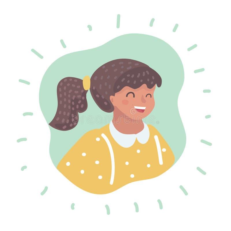 Expresión feliz de la cara de la niña stock de ilustración
