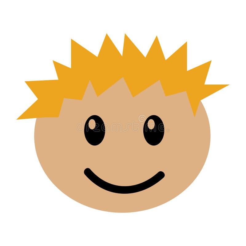 Expresión feliz del muchacho principal ilustración del vector