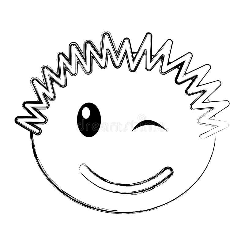 Expresión feliz del muchacho principal stock de ilustración