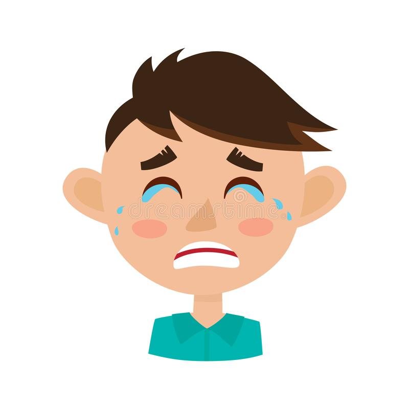 Expresión gritadora de la cara del niño pequeño, ejemplo del vector de la historieta stock de ilustración