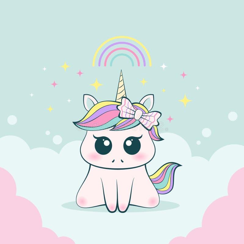 Expresión inocente y adorable del unicornio lindo del bebé libre illustration