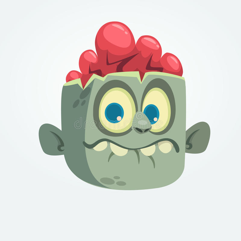 Expresión sorprendida cabeza gris divertida del zombi de la historieta Ilustración del vector de Víspera de Todos los Santos ilustración del vector