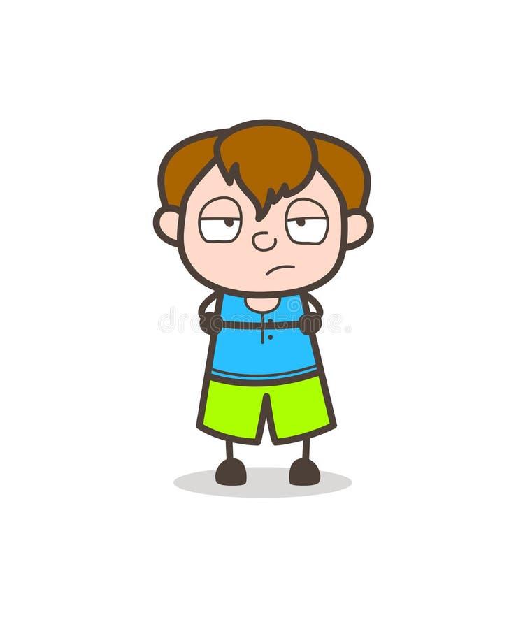 Expresión trastornada e infeliz de la cara - ejemplo lindo del muchacho de la historieta stock de ilustración