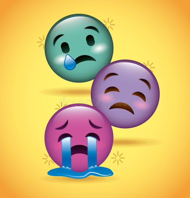 Expresión triste gritadora del emoji de tres sonrisas stock de ilustración
