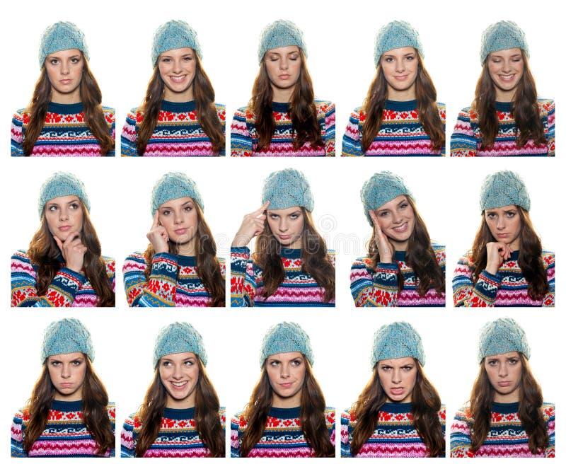 Expresiones adolescentes de la muchacha foto de archivo libre de regalías