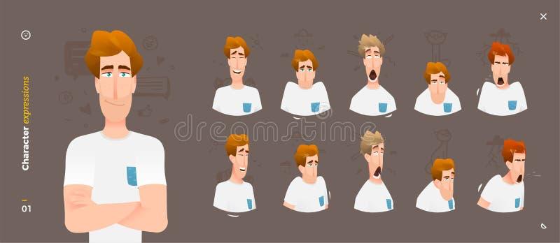 Expresiones de carácter Emociones del hombre de la cara stock de ilustración