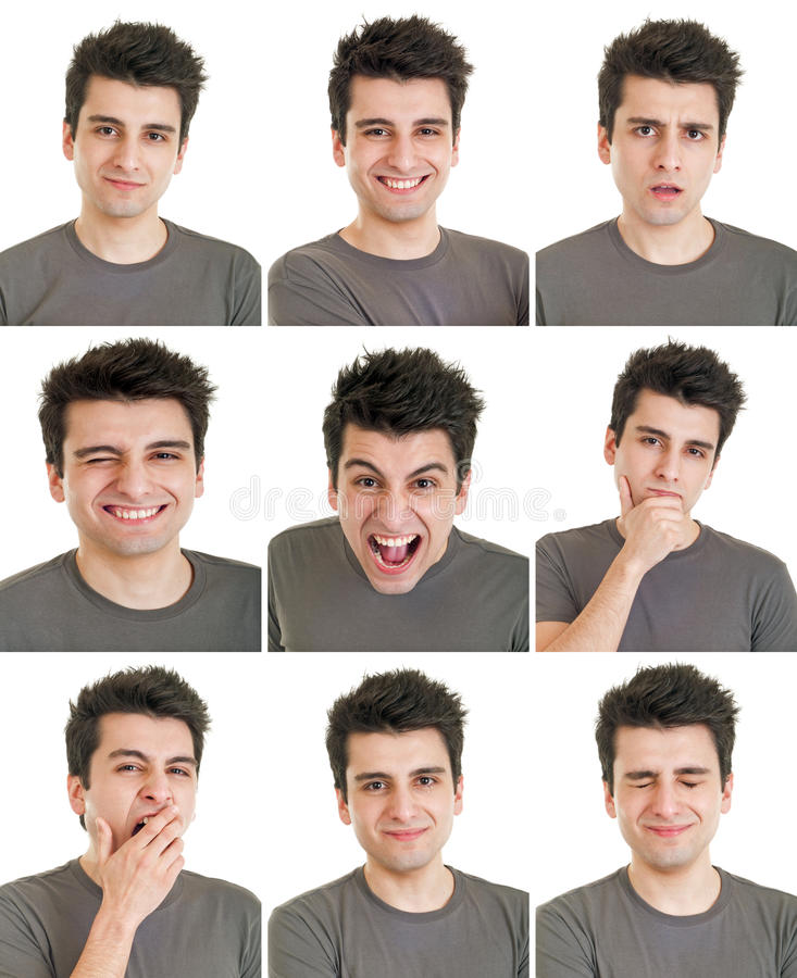 Expresiones de la cara del hombre imagen de archivo libre de regalías