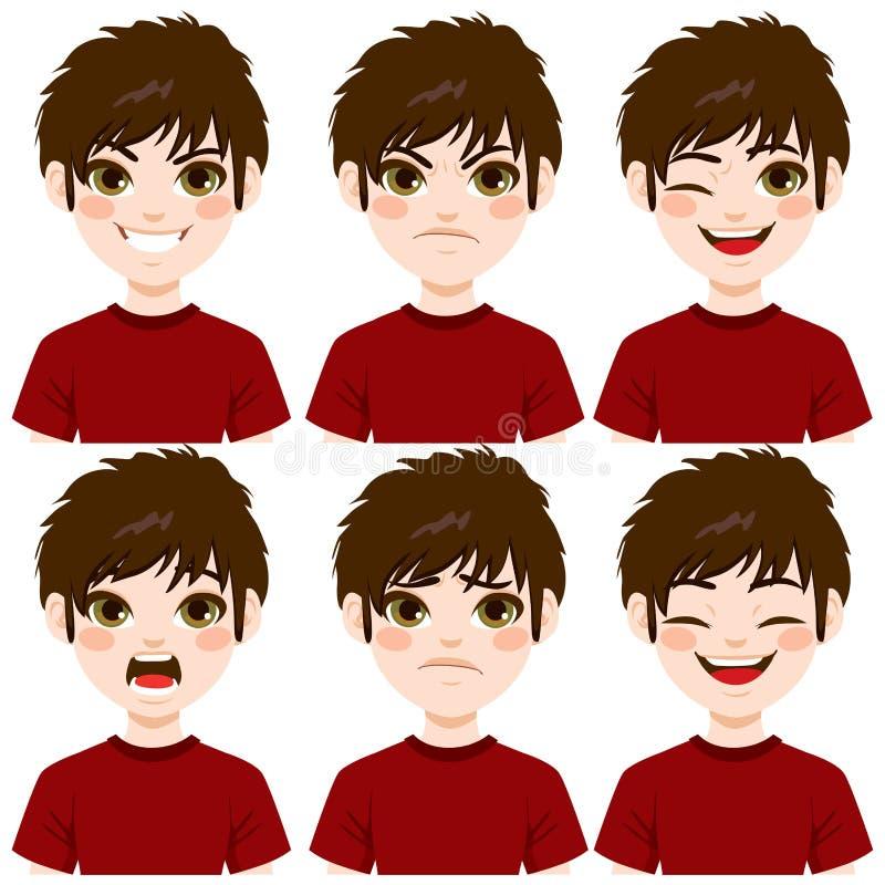 Expresiones de la cara del muchacho libre illustration