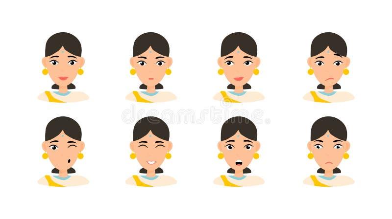 Expresiones de la cara de la mujer con el pelo oscuro ilustración del vector