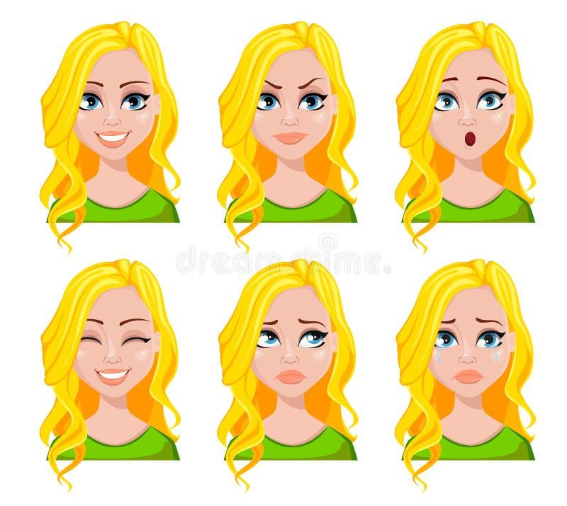 Expresiones de la cara de la mujer del estudiante ilustración del vector