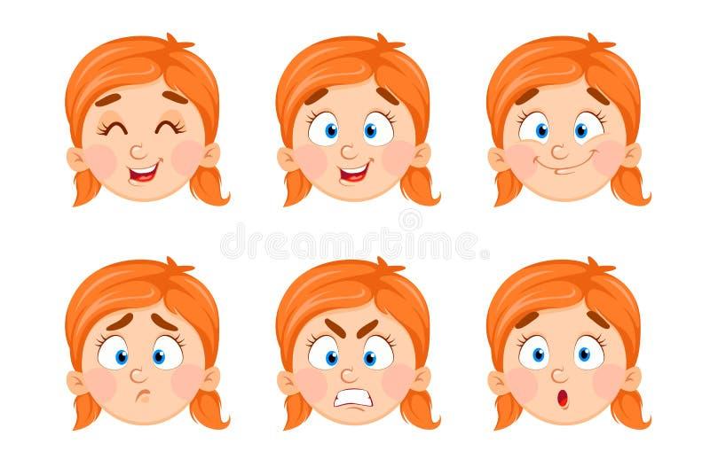 Expresiones de la cara de la niña linda ilustración del vector