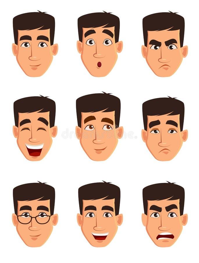 Expresiones de la cara de un hombre de negocios Diversas emociones masculinas fijadas ilustración del vector