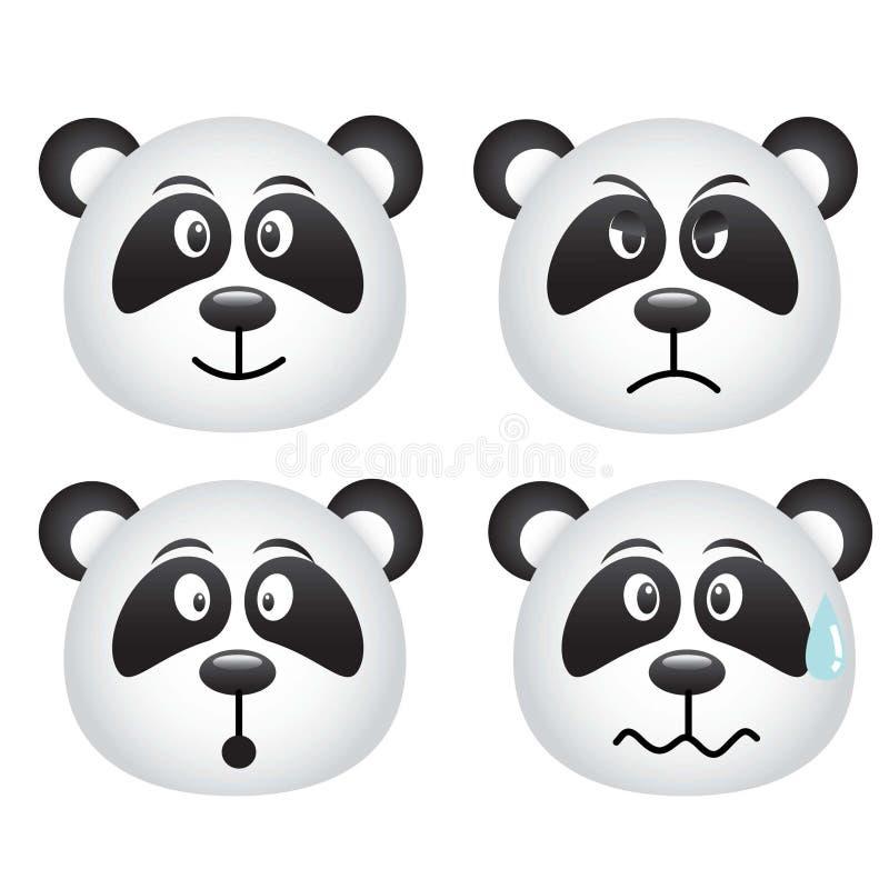 Expresiones de la panda stock de ilustración
