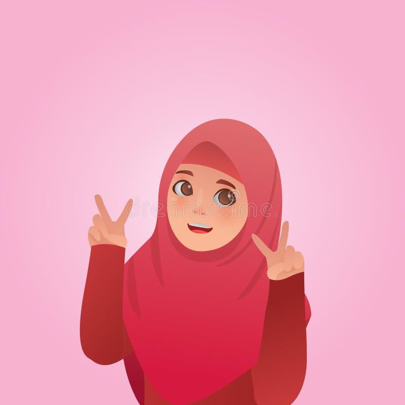 Expresiones de la paz del gesto, vector musulmán lindo de la historieta del ejemplo de la muchacha ilustración del vector