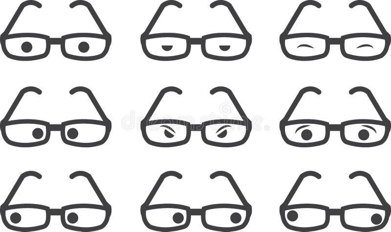 Expresiones de los vidrios ilustración del vector