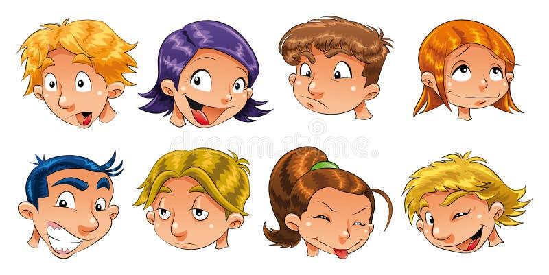Expresiones de niños ilustración del vector